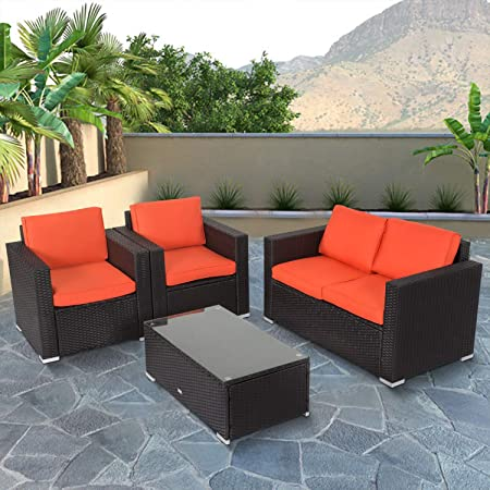 Amazon.com : Kinbor 4 PCs Rattan Patio Outdoor Furniture Set .