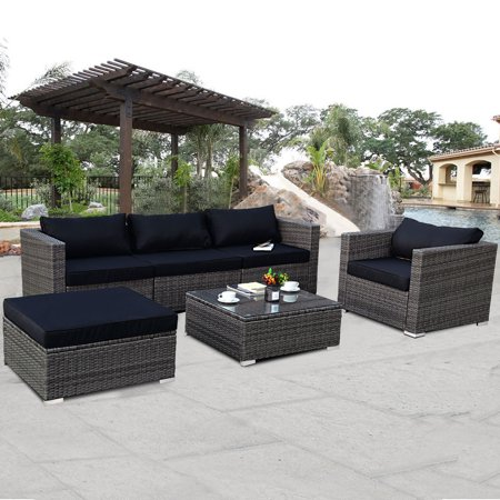 Costway 6-piece Rattan Wicker Patio Furniture Set Sectional Sofa .