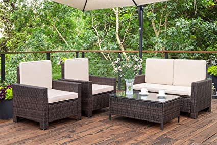 Amazon.com: Homall 4 Pieces Outdoor Patio Furniture Sets Rattan .
