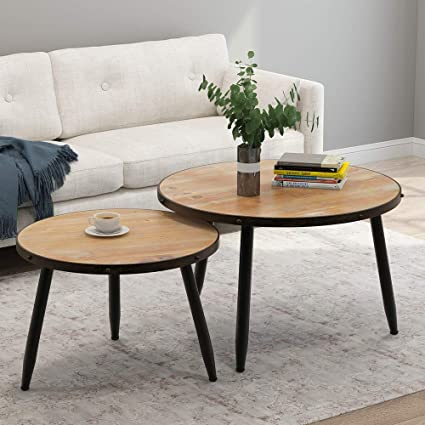 Amazon.com: Tribesigns Industrial Nesting Coffee Table Set of 2 .