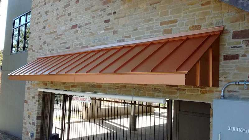 Metal awning | copper | Lone Star Awning Austin San Antonio