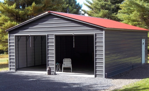 24x36 vertical roof metal garage - Alan's Factory Outl