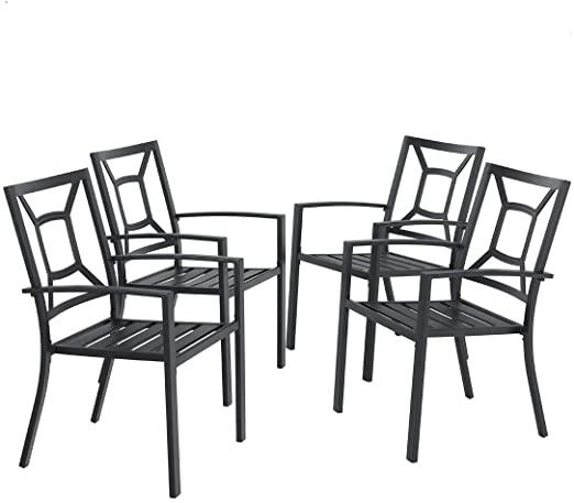 Amazon.com : MF Studio 4 Piece Black Metal Patio Chairs Square .
