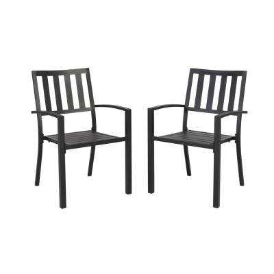 Stackable - Black - Weather resistant - Outdoor Dining Chairs .
