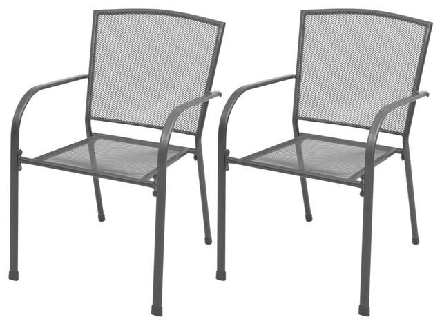 vidaXL 2x Stackable Garden Chairs Steel Gray Outdoor Patio Dining .