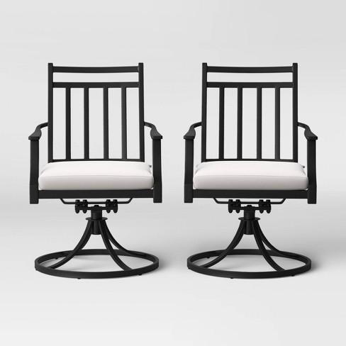Fairmont 2pk Metal Swivel Rocking Patio Dining Chair Linen .