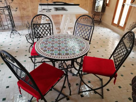 Garden table Chairs Wrought Iron Garden Set Mosaic table | Et
