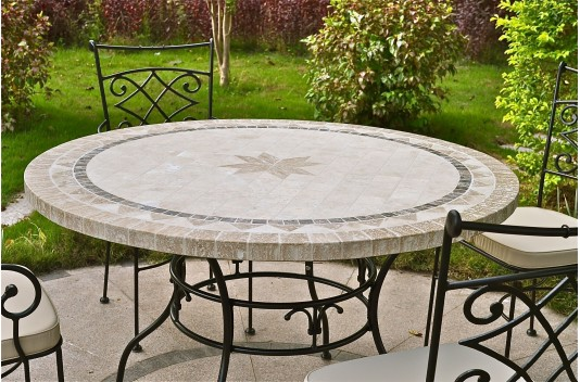 "49-63"" Round Outdoor Patio Table Stone Marble Mosaic MEXI"