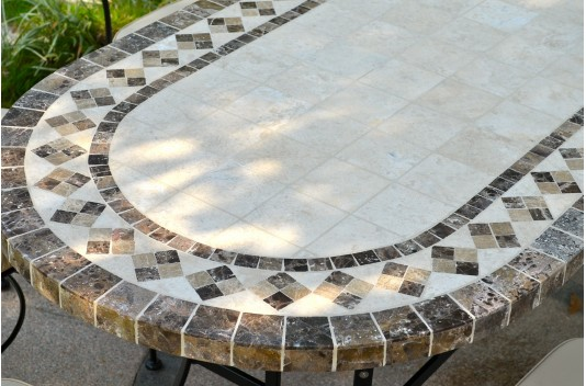 "71"" 94"" Oval Outdoor Stone Patio Dining Table Marble Mosaic - OVA"