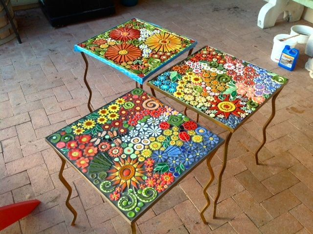 Example of STTW's flower garden mosaic tables completed by Carrie .