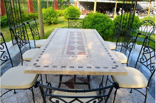"78 & 94"" Outdoor Stone Patio Dining Table Mosaic Marble Top - TAM"