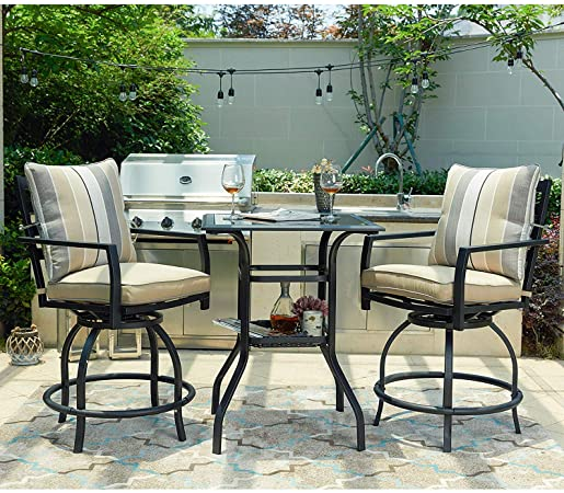 Amazon.com: LOKATSE HOME 3 PCS Outdoor Patio Bistro Swivel Bar .