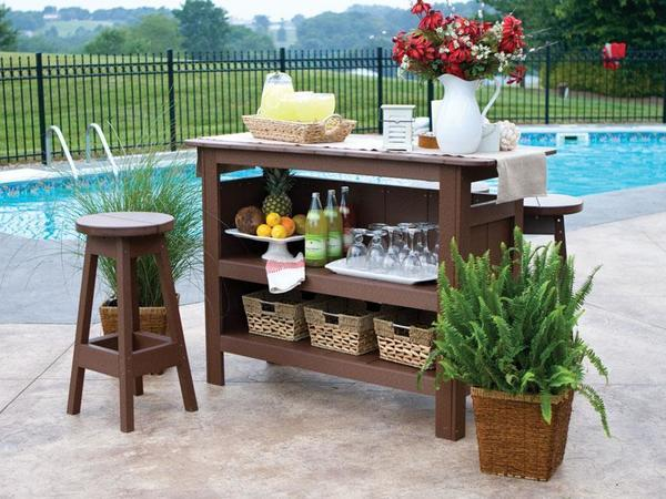 Berlin Gardens Outdoor Bar Set with Backless Bar Stools fr