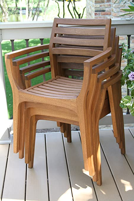Amazon.com : Outdoor Interiors Stacking Chairs, Brown, Set of 4 .