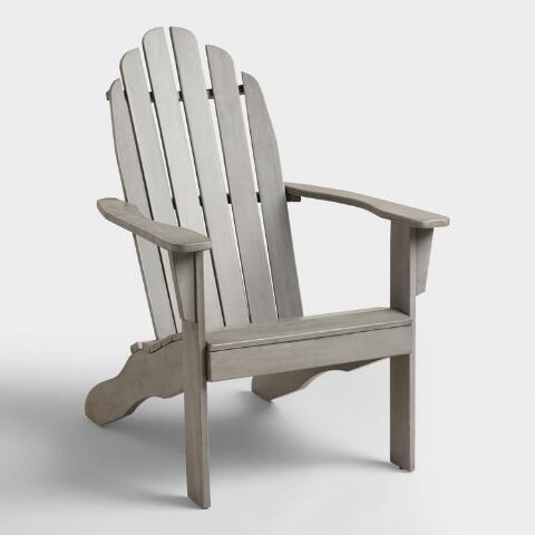 Gray Wood Adirondack Outdoor Chair | World Mark