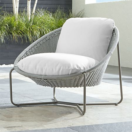 Morocco Light Grey Oval Lounge Chair with White Cushion + Reviews .