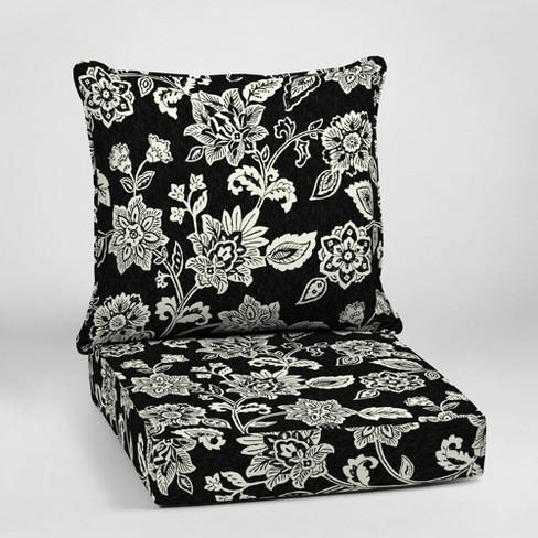 Ashland Jacobean Deep Seat Outdoor Cushion Set Black/White - Arden .