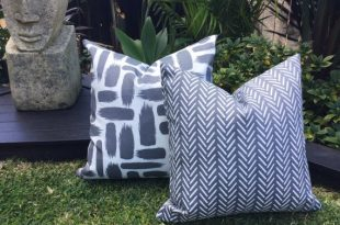 Grey Outdoor Cushions Grey and White Outdoor Pillow Outdoor   Et