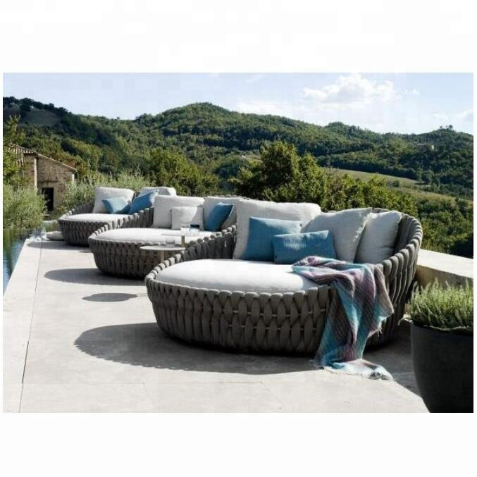 Newest Woven Rope Outdoor Daybed Round Sun Bed - Buy Round Daybed .