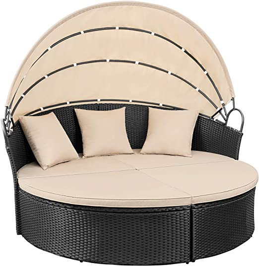 Amazon.com: Devoko Patio Furniture Outdoor Round Daybed with .