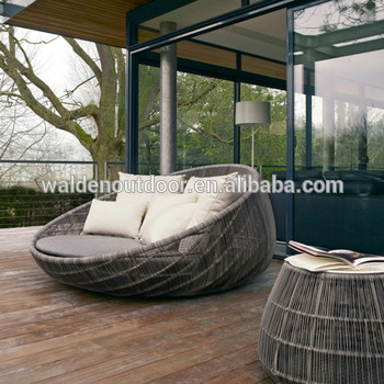 Walden Outdoor Furniture Round Daybed With Canopy/ Patio Rattan .
