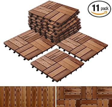 Amazon.com: Acacia Wood Deck Tiles | Composite Decking, Flooring .