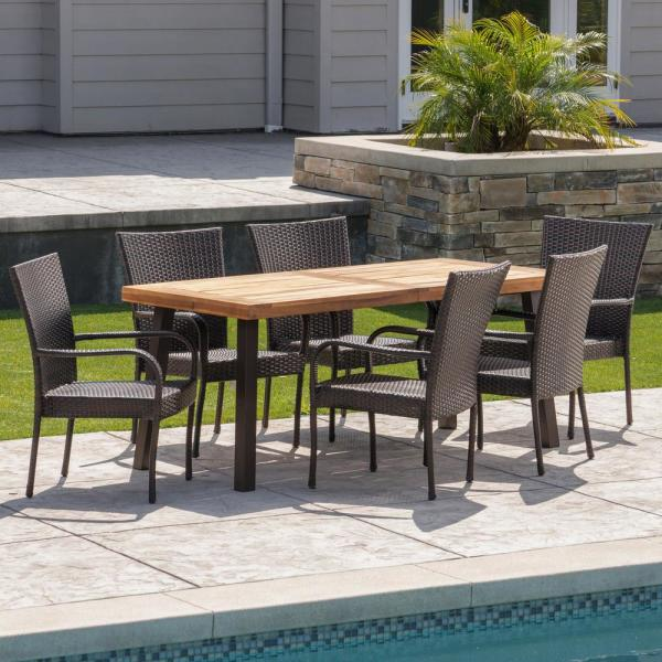 Noble House Malani 7-Piece Wood and Wicker Outdoor Dining Set with .
