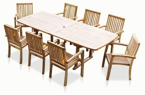 Amazon.com: New 9pc Grade-A Teak Outdoor Dining Set-one Double .