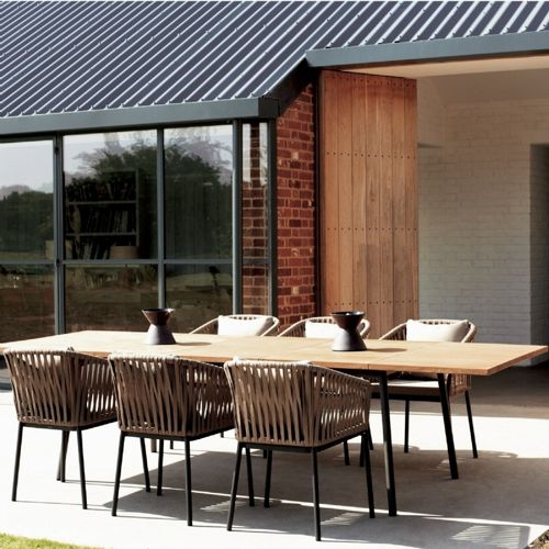 Bitta Braided Modern Outdoor Dining Set 7 Piece GK-70100-SET7 .