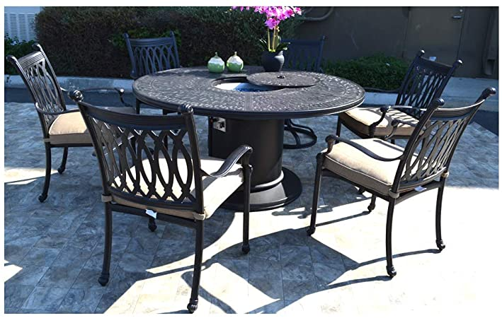 Amazon.com: 7 pc patio dining set Cast aluminum powder coated .