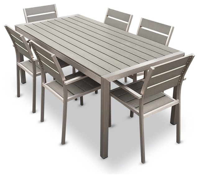 Outdoor Aluminum Resin 7-Piece Dining Table and Chairs Set .