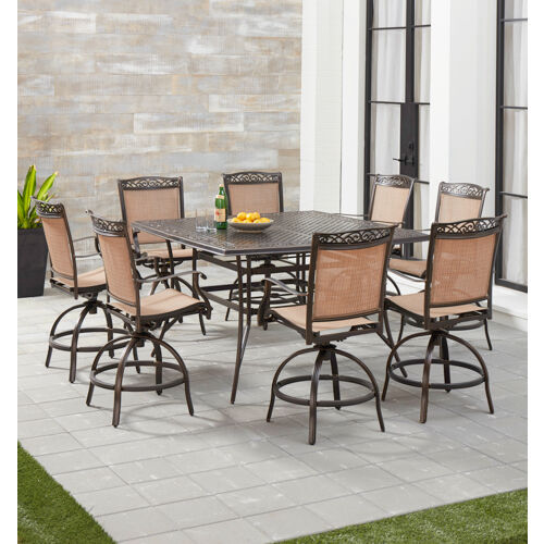 Hanover Fontana 9-Piece Counter-Height Outdoor Dining Set with 8 .
