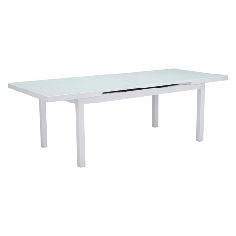 """71"""" - 94"""" Modern Expandable Outdoor Dining Table White - ZM Home ."""