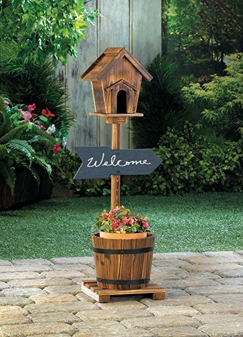 Amazon.com : Planters Garden Decor Welcome Sign Rustic Birdhouse .