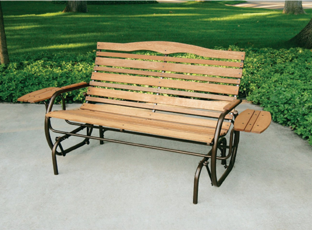 Outdoor Glider Patio Deck Rocker Bench Double Seat Wood Trays .