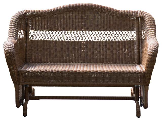 Walnut Resin Wicker 2-Seat Outdoor Glider Bench Patio Arm-Chair .
