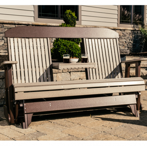 Garden Glen Amish Outdoor Glider with Console - Poly | Cabinfield .