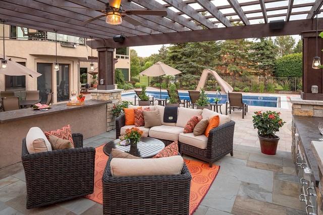 Luxury Outdoor Living ROom   Patios - Transitional - Garden .