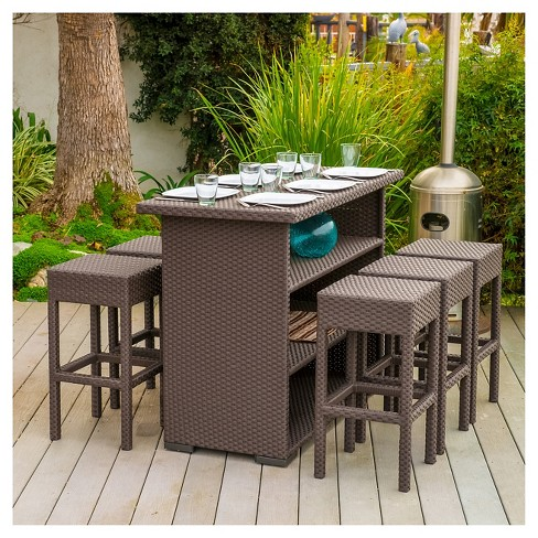 Milton 7pc Wicker Patio Bar Set - Brown - Christopher Knight Home .