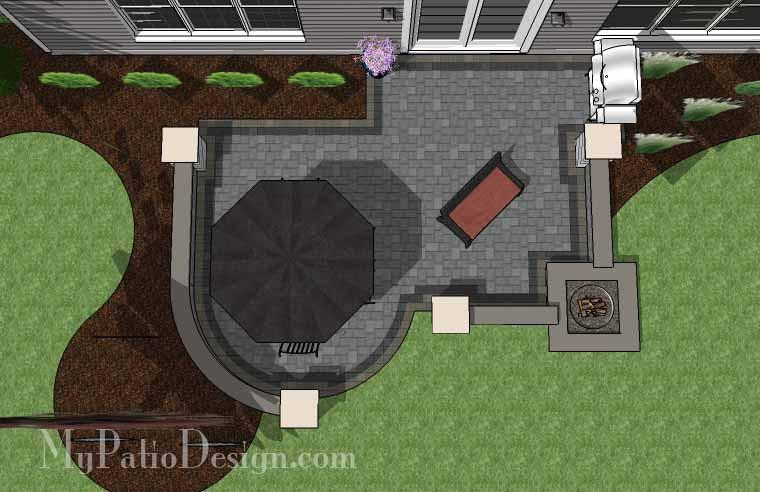 Simple Outdoor Patio Design with Built-in Fire Pit | Downloadable .
