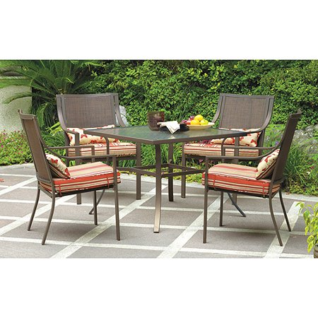 Mainstays Alexandra Square 5-Piece Outdoor Patio Dining Set, Red .