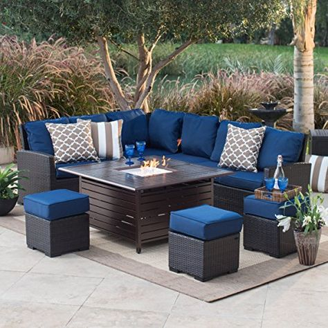 Outdoor Patio Furniture Set with Gas Fire Pit All Weather Set .