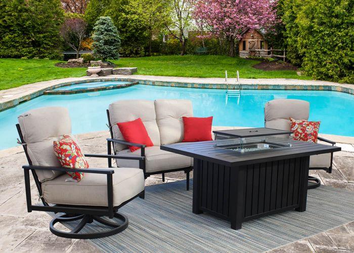 Bedford 4-piece Cast Aluminum Outdoor Patio Furniture Deep .