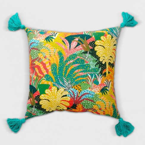 Tassel Outdoor Pillow Yellow/Green - Opalhouse™ : Targ