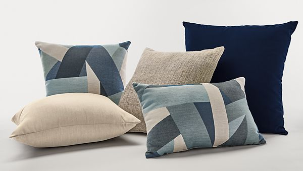 Blue & Taupe Pillow Ensemble - Modern Outdoor Pillows - Modern .