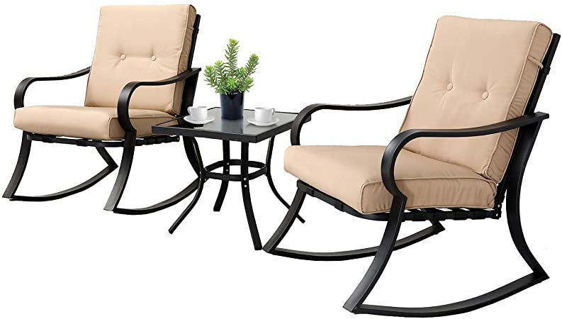 Amazon.com: SOLAURA 3-Piece Outdoor Rocking Chairs Bistro Set .