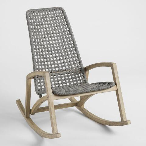 Gray Nautical Rope Rapallo Outdoor Rocking Chair | World Mark