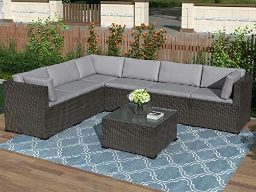 Amazon.com: 7-Piece Patio Furniture Set Outdoor Sectional .