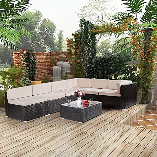 Amazon.com: U-MAX 7 Pieces Patio PE Rattan Wicker Sofa Set Outdoor .