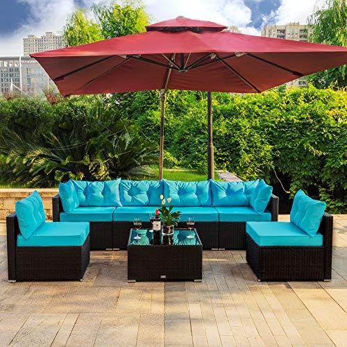 Amooly 7 Pieces Patio PE Rattan Sofa Set Outdoor Sectional .